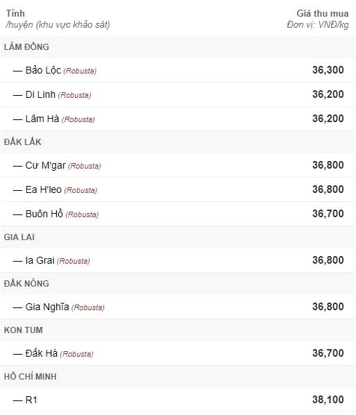 gia ca phe hom nay 184 van loanh quanh duoi 37000 dongkg